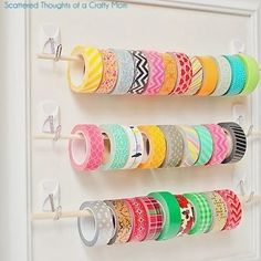 easy ribbon storage frame I love this duct tape organizer Ribbon Organization, Ribbon Storage, Craft Organization, Diy Washi Tape Storage, Thread Storage, Ribbon Diy, Storage Hooks, Wall Storage, Closet Organization