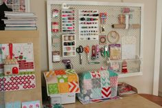 Sew Delicious: Where I Sew Peg Board and Quilted Sewing machine cover