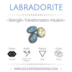 Metaphysical Healing Properties of Labradorite, including associated Chakra, Zodiac and Element, along with Crystal System/Lattice to assist you in setting up a Crystal Grid. Go to https://www.soulsistersdesigns.com/labradorite to learn more!