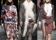 Prabal Gurung A/W 2014/15-Marbled Paint Texture – Discovering Surfaces – Faint Pattern Markings – Painterly Brush-marks – Mono-Print Styles – Ethnic Carpet Prints – Border Details – Tactile Print Plays – Indian Block Prints