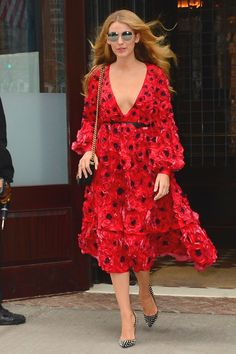 17 February Blake Lively stepped out in New York City wearing a Michael Kors poppy dress with Christian Louboutin heels.   - HarpersBAZAAR.co.uk