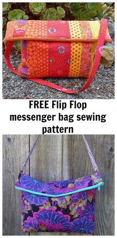 FREE flip flop messenger bag sewing pattern. A roomy tote bag with a loose structure.
