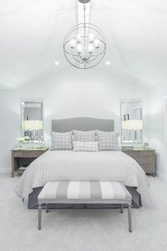 Gray Camelback Headboard with Striped Gray Bedroom Bench, Transitional, Bedroom Luxury Bedroom Design, Master Bedroom Design, Home Bedroom, Bedroom Decor, Interior Design, Bedroom Ideas, Bedroom Designs, Interior Modern, Bedroom Benches