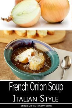 French Onion Soup Italian Style is a great time saver when you're in the mood for this hearty soup; it's quick and delicious. Easy Soup Recipes, Crockpot Recipes, Chili Recipes, Quick And Easy Soup, Soup Appetizers, Gifts For Cooks, Stuffed Sweet Peppers, Onion Soup, French Onion