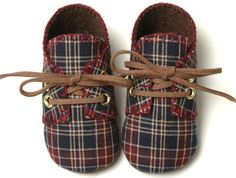 William Baby Boy Shoes, Maroon and Blue Plaid,Trendy, Sporty, Infant-Toddler, Handmade by pink2blue.. $32.00, via Etsy.