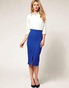 ASOS Midi Pencil Skirt with Front Split - StyleSays