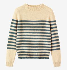 Neatly fitting striped sweater in warm, traditionally spun lambswool. Striped upper body and sleeves. High, double-ribbed, boat-ish neck. Ribbed cuffs and hem.