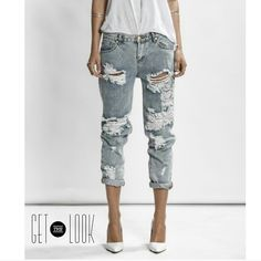 Distressed Jean Gorge smoky gray distressed denim. Pant looks great cuffed. New Pants