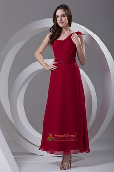 Stylish A-Line One Shoulder Ruffled Ankle Length Chiffon Red Dress For Mother Of Brides