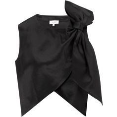 Isa Arfen Black Satin Bow Party Top (405 AUD) ❤ liked on Polyvore featuring tops, blouses, shirts, crop tops, black, crop top, black bow blouse, black shirt, bow blouse and shirts & blouses