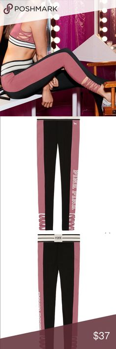 """VICTORIAS SECRET PINK LEGGINGS SIZE S NWT STRAPPY Keep it casual (and comfy) in these essential cotton leggings. Strappy details at the ankle add a little extra edge. Only by Victoria's Secret PINK. Soft begonia color  Flat, elastic waistband Strappy detail at ankle 27½"""" inseam Imported cotton/polyester/spandex $46.95 retail PINK Victoria's Secret Pants Leggings"""