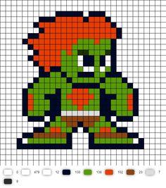 Blanka Street Fighter 2 Perler Bead Pattern