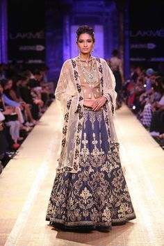Navy gold and blue beige Indian wedding lehnga by Anju Modi at Lakme Fashion Week Winter 2014. More here: http://www.indianweddingsite.com/lakme-fashion-week-winter-2014-anju-modi-collection/