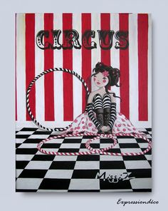 """Peinture originale girly """"CIRCUS"""" - Acrylique sur toile 30 x 40 cm Girly, Etsy, Vintage, Artwork, Acrylic Paintings, Wall Art, Handmade Gifts, Day Care, Canvases"""