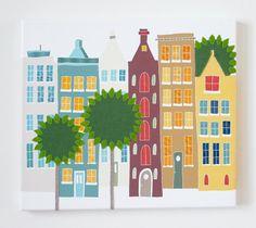 Down my street - stitched canvas print