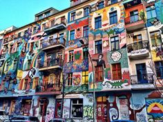 Colorful row of buildings in Friedrichshain