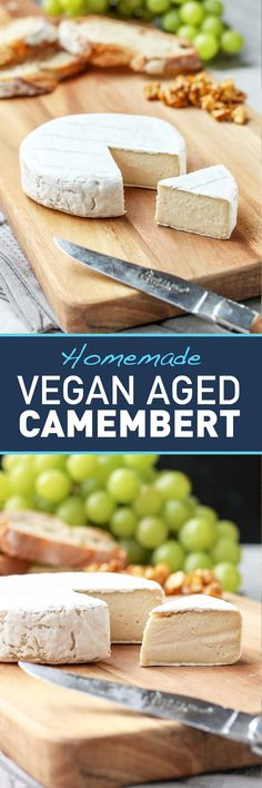 Vegan Aged Camembert Cheese -- sharp, creamy, with a white and flowery rind.