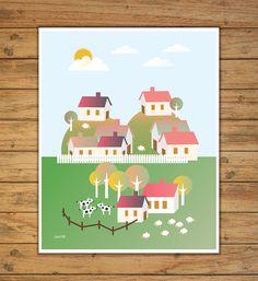 laminas infantiles cuadros infantiles casas por Ilustracionymas
