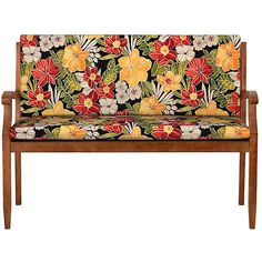 """Improvements Hinged Bench Cushion 35""""x47""""x3"""" - Tropical Oasis Print (£71) ❤ liked on Polyvore featuring home, outdoors, outdoor decor, 415085, outdoor pillows, outdoor toss pillows, outdoor garden decor, tropical outdoor decor and outdoor patio decor"""