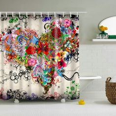 Bathroom Curtains Waterproof Polyester Fabric Bathroom Shower Curtain Hooks:pp Shower Curtain Art, Floral Shower Curtains, Bathroom Shower Curtains, Bohemian Shower Curtain, Colorful Shower Curtain, Bohemian Curtains, Colorful Curtains, Bath Shower, Home And Deco