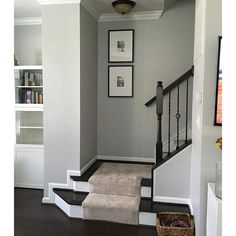 How to make a dark staircase or hallway feel brighter with paint colour. Via Sherwin Williams