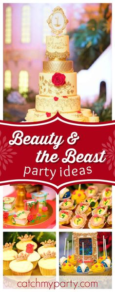 What a stunning Beauty & the Beast 1st birthday party. The cake is amazing!! See more party ideas and share yours at CatchMyParty.com