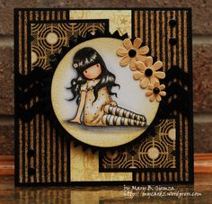 My favorite Gorguss Girl by - Cards and Paper Crafts at Splitcoaststampers. love the dark colors! Theme Anglais, Magnolia, Small Cards, Card Making Inspiration, Copics, Cool Cards, Kids Cards, Scrapbook Cards, Homemade Cards