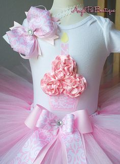 Baby Girl's First Birthday Outfit  Cupcake by AngelPieBoutique, $51.99