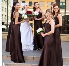 #chocolate and gold bridesmaid dresses... Wedding ideas for brides, grooms, parents & planners ... https://itunes.apple.com/us/app/the-gold-wedding-planner/id498112599?ls=1=8 … plus how to organise an entire wedding ♥ The Gold Wedding Planner iPhone App ♥