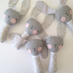 luckyjuju baby bunny rattle grey with striped ears by luckyjuju Sewing Toys, Baby Sewing, Sewing Crafts, Sewing Projects, Softies, Sewing For Kids, Diy For Kids, Baby Toys, Kids Toys