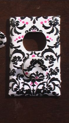Damask Pink and Black on White Outlet Cover with by QuillowShop, $4.00