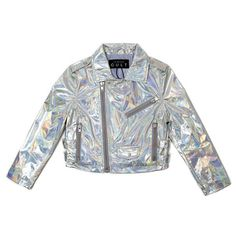 HOLOGRAM MOTO JACKET ($120) ❤ liked on Polyvore featuring outerwear, jackets, tops, cropped biker jacket, holographic jacket, motorcycle jacket, cropped motorcycle jacket and hologram jacket