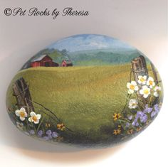 Old Barn Painted Rock Stone Farm Country Painting Direct from Artist One of a Kind Old Barn Collector Item Decor by PetRocksbyTheresa on Etsy
