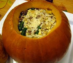 Dinner in a Pumpkin.  How cute!
