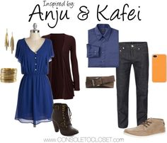 Anju & Kafei (The Legend of Zelda: Majora's Mask) by ladysnip3r   Anju:ModCloth - Tanzanite As Well Dress, $53/Chiara - Long Sleeve Jersey Cardigan, $10/ Saks Fifth Avenue - Triple Dagger Earrings, $40/ H&M - Bracelets, $6/ ModCloth - All Ladies Road Trip Bootie, $55   Kafei: Coggles - Jeans, $150/ Piperlime - Fossil Barrett Belt, $24/ Call it Spring - Bollom Shoes, $55/ Kohls - Arrow Classic Fit Shirt, $25/ StoreEnvy - Hexagon Pattern Protective Case, $6   These outfits are...