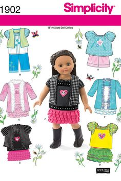 Free Printable Doll Clothes Patterns | 18 Inch Doll Clothes Pattern Simplicity by RostLakeCottageCraft