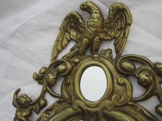 vintage brass mirror  eagle and shield patriotic by theartfloozy