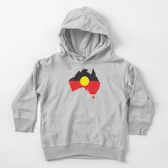 """""""Aboriginal Flag In Australia Map #2"""" Toddler Pullover Hoodie by SalahBlt 