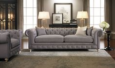 Dramatic rolled arms and modern grey linen upholstery add grace and glamour to this Chesterfield sofa. Apartment Furniture, Bed Furniture, Cheap Furniture, Furniture Design, Furniture Removal, Furniture Showroom, Small Furniture, Farmhouse Furniture, Furniture Layout