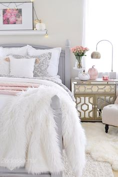 6 Happy Tips: Bedroom Remodel Joanna Gaines attic bedroom remodel.Master Bedroom Remodel bedroom remodel before and after bathroom makeovers.Bedroom Remodel Before And After Apartment Therapy. Glam Bedroom, Woman Bedroom, Girls Bedroom, White Bedroom, Pink And Silver Bedroom, Cozy Bedroom Decor, Cream And Grey Bedroom, Pink Master Bedroom, Bedroom Neutral