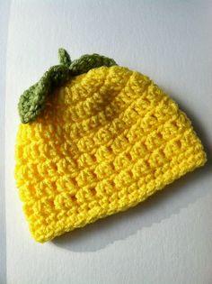 """Lemony Love"" Crochet Baby Hat!!   This FREE Crochet Pattern is so cute done in the lemon yellow yarn!            ""Lemony Love"" Crochet Baby..."