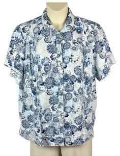57d2d0140f8 Womens CJ Banks Button Down Shirt Plus Size 3X Blue Khaki Linen Blend MOP  Button  CJBanks  ButtonDownShirt  Any