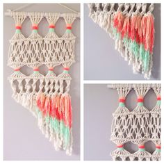 Macrame Wall Hanging coral peach mint by AMIESTEPHSON on Etsy, $30.00