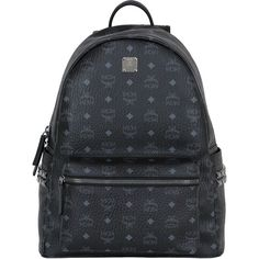Mcm Women Medium Stark Coated Canvas Backpack (300 KWD) ❤ liked on Polyvore featuring bags, backpacks, black, rucksack bags, studded bag, studded backpack, backpack bags and day pack backpack