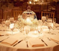 I don't think the Disney trend will ever disappear!  We are definitely not complaining! Love this Cinderella inspired centre piece, it almost looks magical. Show us your Disney-themed wedding by hashtagging #weddedwonderland  Photographer - Jonathan Ivy Photo #weddinginspiration #disney #cinderella #bride #bridetobe #inspo #decorate #candles #babiesbreath #weddedwonderland