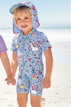 5d3ccc1370e14 Buy Blue Unicorn Print Sunsafe Suit (3mths-7yrs) from the Next UK online  shop