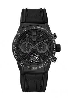 """The TAG Heuer Carrera Caliber Heuer-02T """"Black Phantom"""" - this all-black version nicknamed """"Black Phantom,"""" with black titanium carbide coating and gray Super-LumiNova highlights, is limited to 250 pieces and priced at 19,900 CHF.   More @ http://www.watchtime.com/wristwatch-industry-news/watches/inside-tag-heuers-16000-tourbillon-chronograph-the-carrera-heuer-02-t/ #tagheuer #watchtime #chronograph #luxurywatch"""