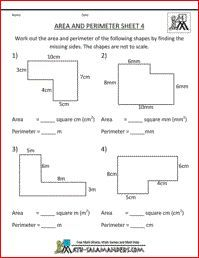 Area and Perimeter Sheet 4, area and perimeter of rectilinear shapes