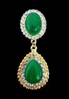 Brinco Luxo Quartzo Verde