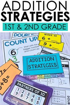 Addition Strategies for First Graders Addition Strategies, Math Strategies, Math Resources, Math Classroom, Kindergarten Math, Teaching Math, Teaching Addition, Math Addition, Maths 3e